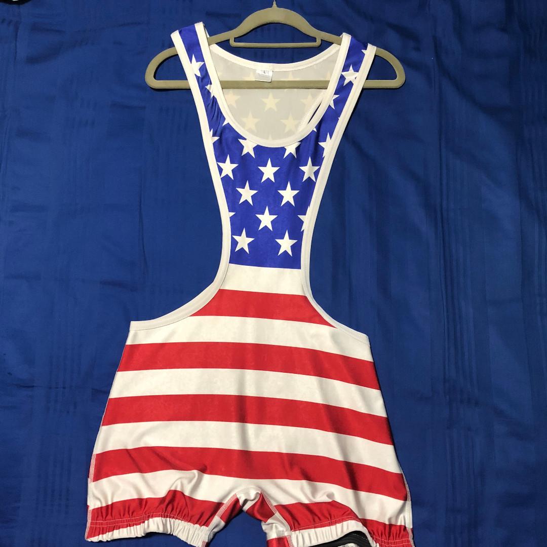 d3b6708f6947 American Flag Wrestling Singlet   Powerlifter   Rash Guard