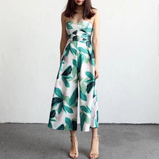 b57877c55f Life Of The Party Tropical Palm Leaves Havana Bustier Tube Culottes ...
