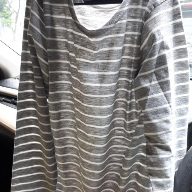 Atasan kaos stripe lengan panjang lembutsize fit to XL