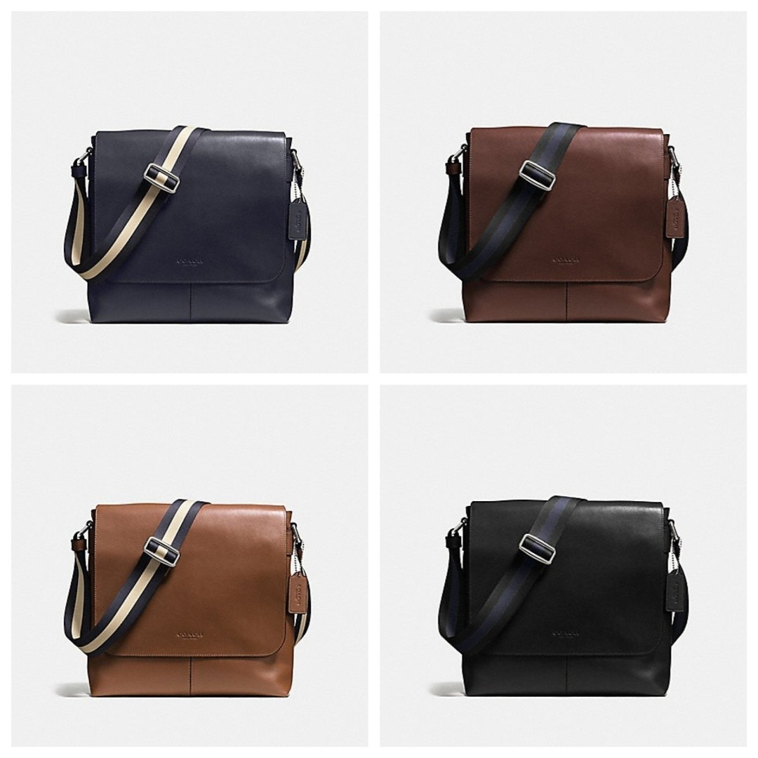 05ce63dbd98f Authentic Coach F72362 Charles Small Messenger in Sport Calf Leather ...
