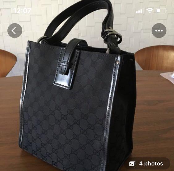 f6b0e2f7e Authentic Gucci True Black Monogram Canvas Tote, Luxury, Bags & Wallets on  Carousell