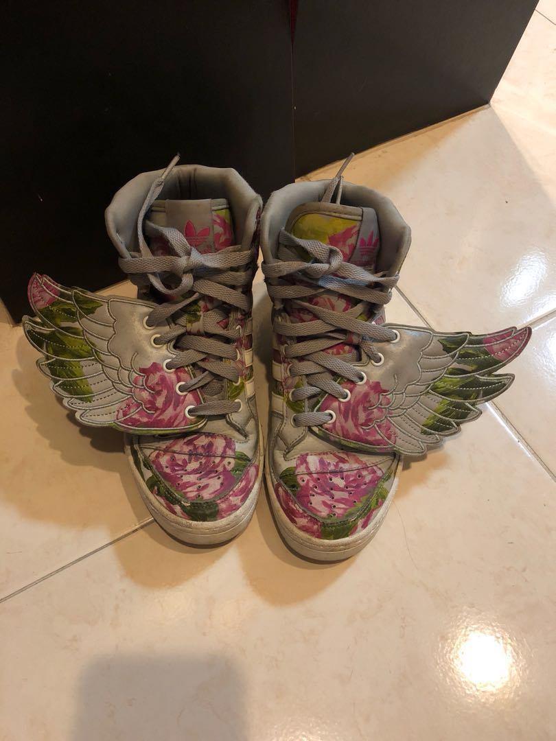 062d2f8d88c2 AUTHENTIC JEREMY SCOTT X ADIDAS JS WINGS REFLECTIVE FLORAL SNEAKERS ...