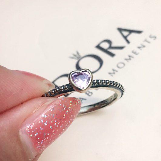Authentic Pandora Pink Heart Ring Sz 54
