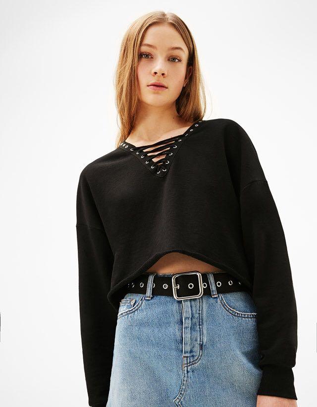Bershka lace-up sweater
