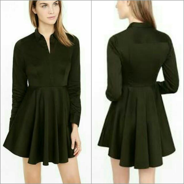Express Olive Green Fit & Flare Shirt Dress