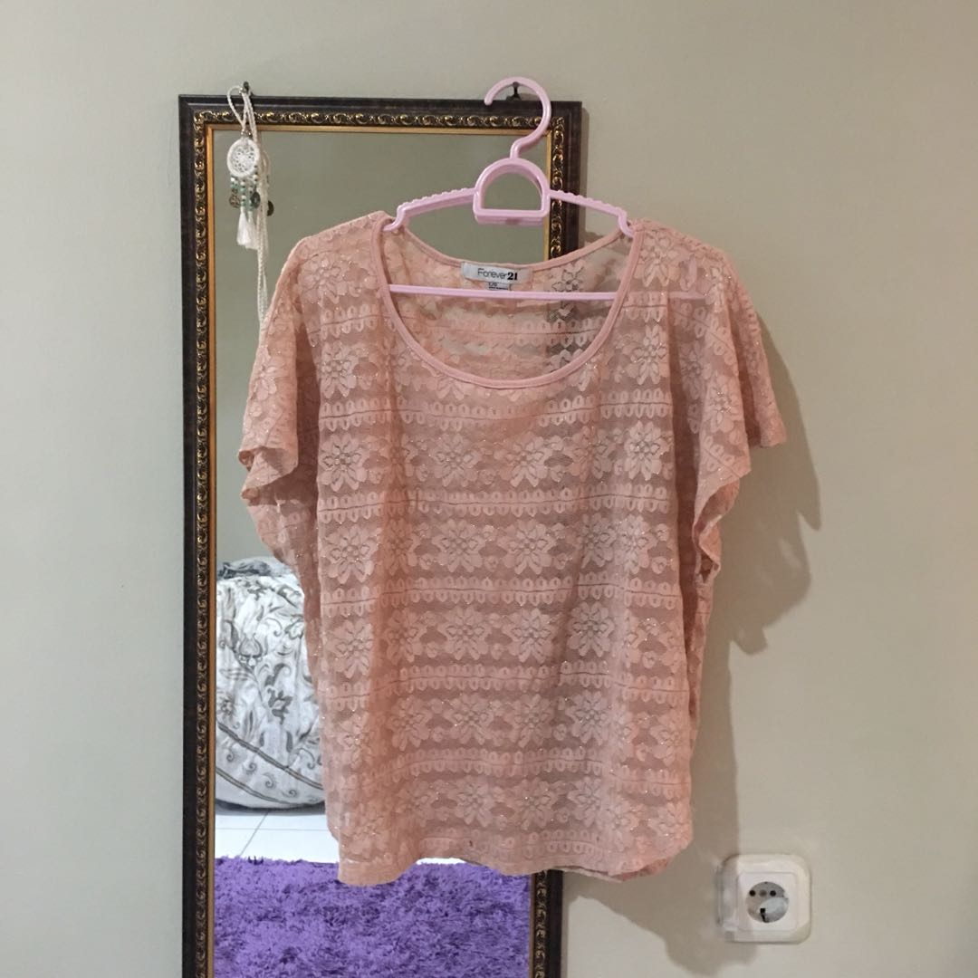 FOREVER21 Dusty Pink Lace Top