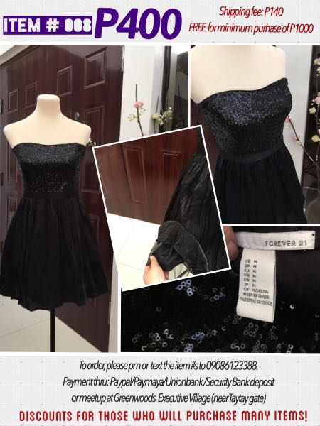 Forever 21 Black Dress With Sequins Debut Wedding Party Womens