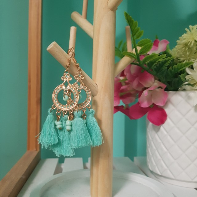 Gold and turquiose circle tassel earrings