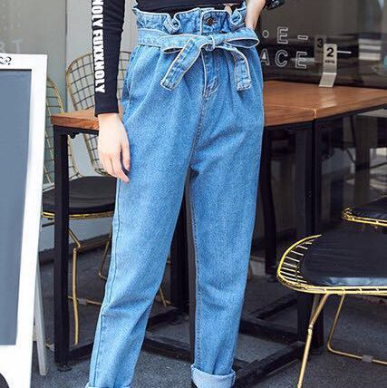 HIGH WAISTED FRILL TOP JEANS