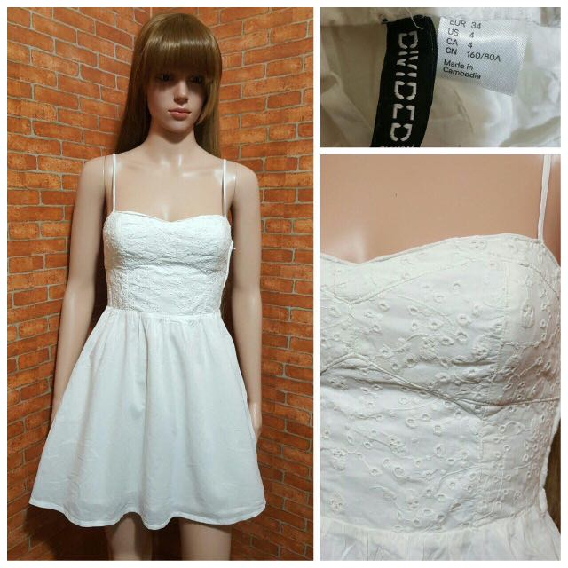 H&M WHITE LACED EMBROIDERED DRESS