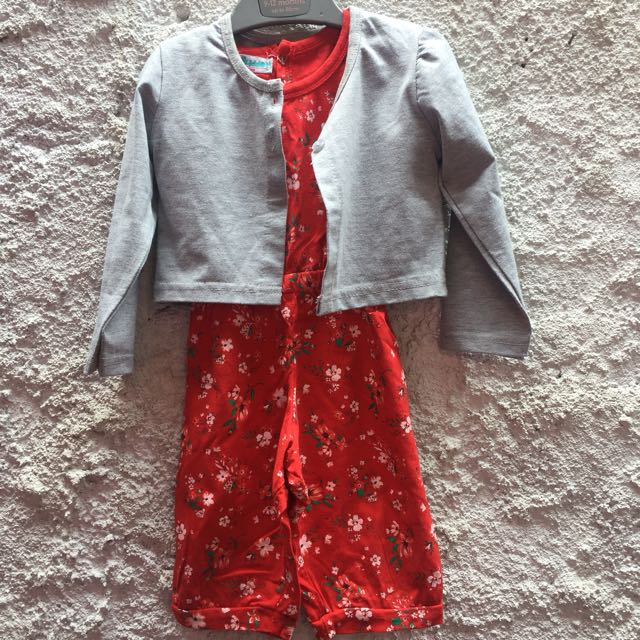 jumpsuit + cardigan outer 12 mos