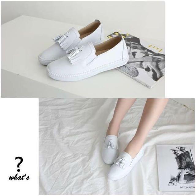 Korea•Ollie 👟 真皮流蘇側縫線軟Q休閒鞋