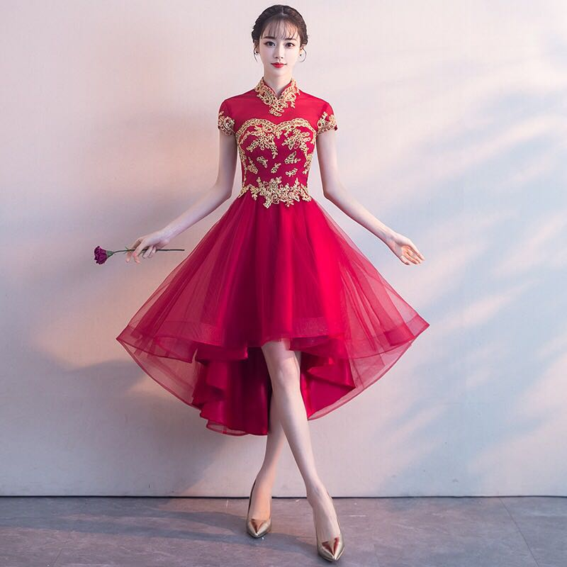 9055bea7e Ladies Bride Wedding Red Cheongsam Embroidered Tulle Lace Dress Gown ...