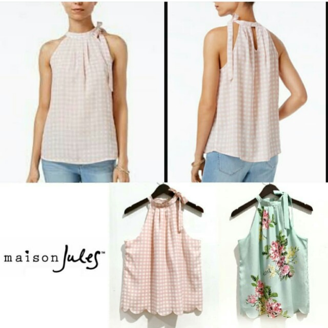 Maison Jules Tie Pink and Floral Top