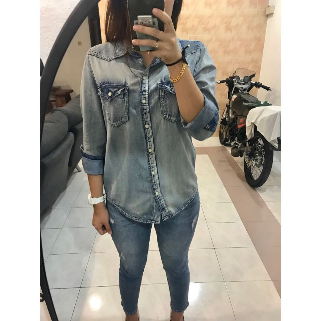 1b58d2c1b6a30 Mango Light Wash Denim Shirt | Top Mode Depot