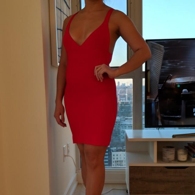 MANGO x Penelope Cruz red bandage dress, size XS