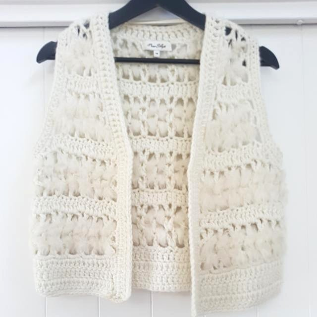 Miss Shop crochet fur vest