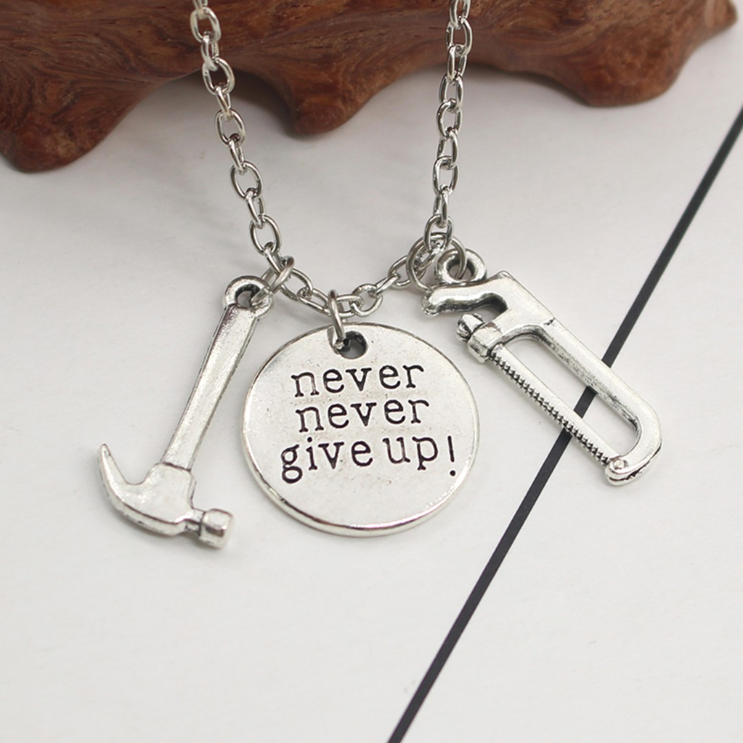 Never never give up motivational quote pendant necklace 1 piece never never give up motivational quote pendant necklace 1 piece only womens fashion jewellery on carousell aloadofball Images