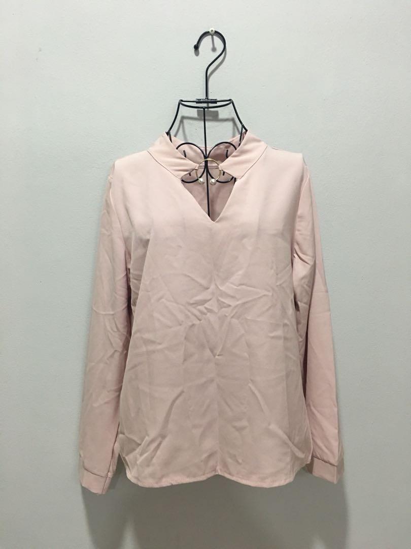 🌹NEW - KOREA Light Pink Blouse 123