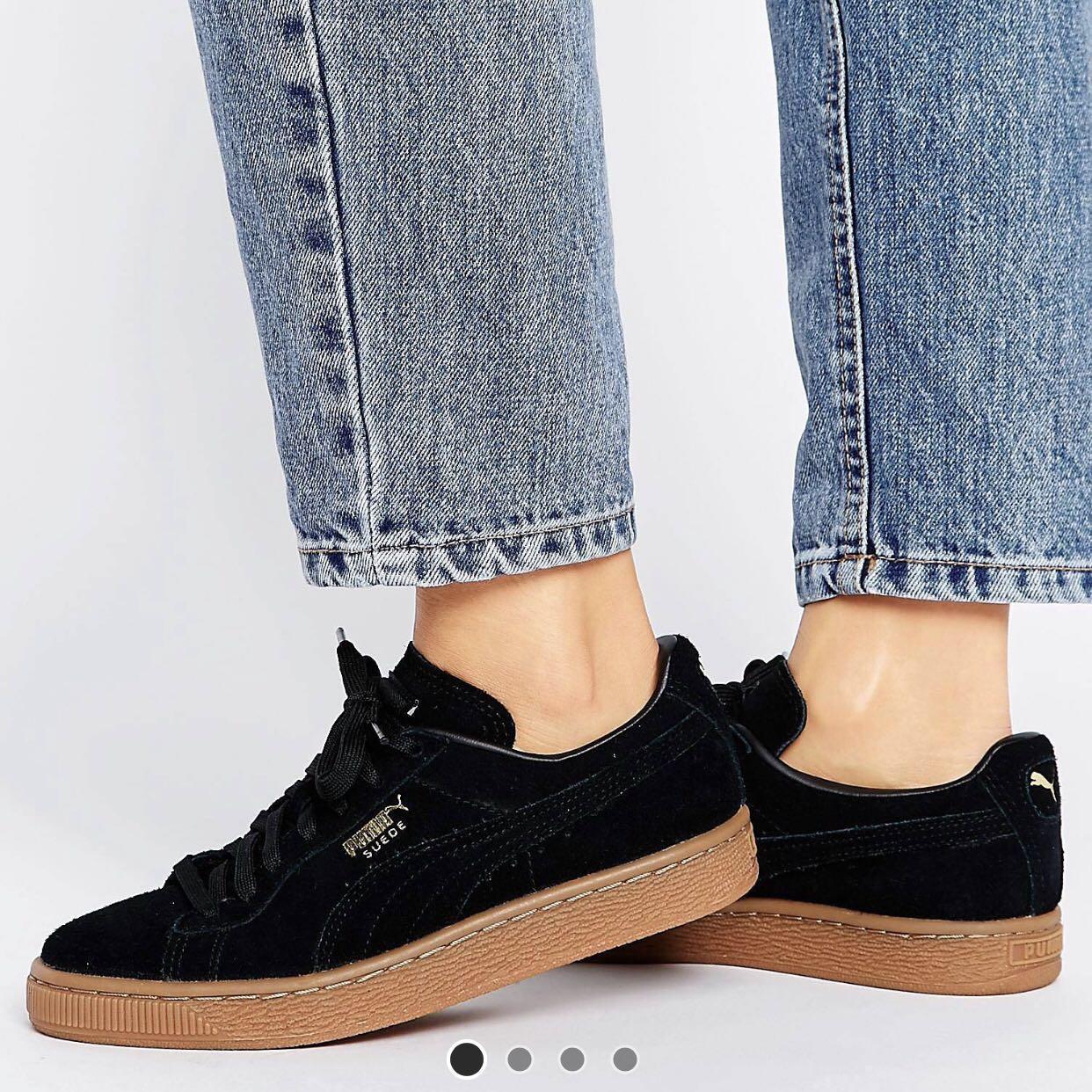 88d071cb0b833 puma black suede classic trainers with gum sole
