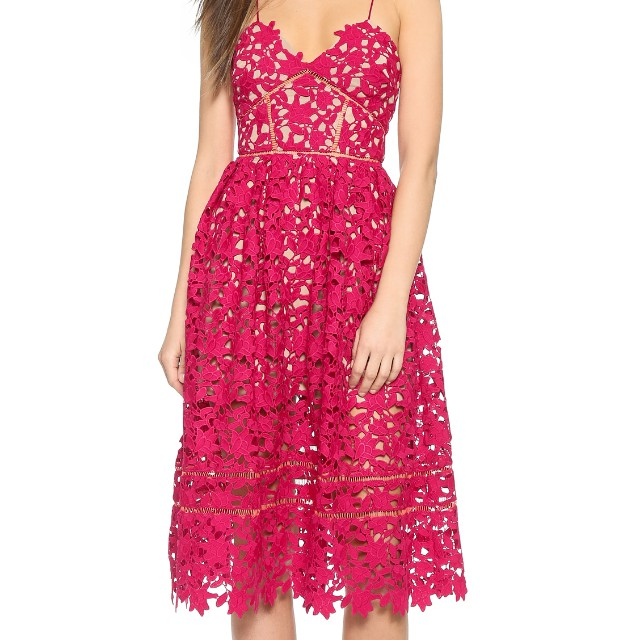 df15b80d30dfb SELF-PORTRAIT Azaelea Lace Midi Dress- Red (U.P.  49.90)