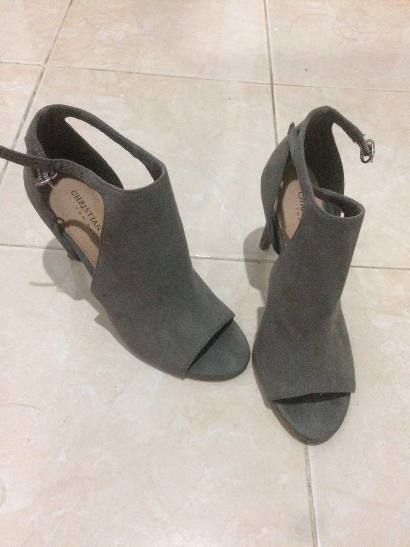 Semi open ankle boots heels