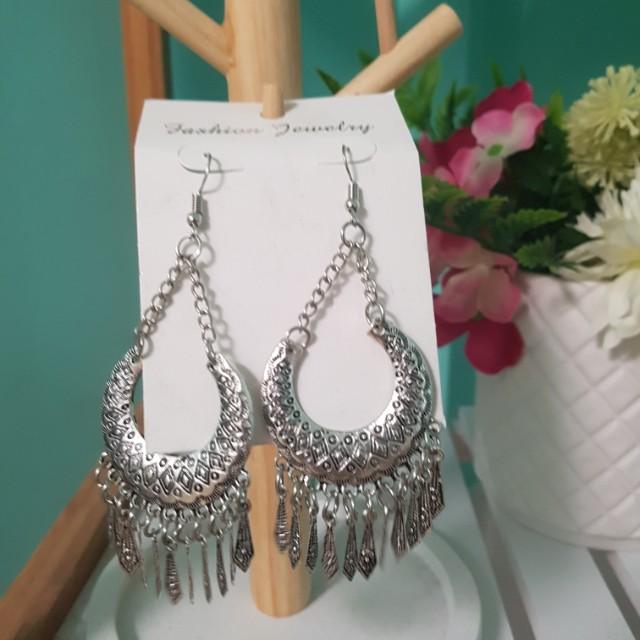 Silver boho dangle earrings