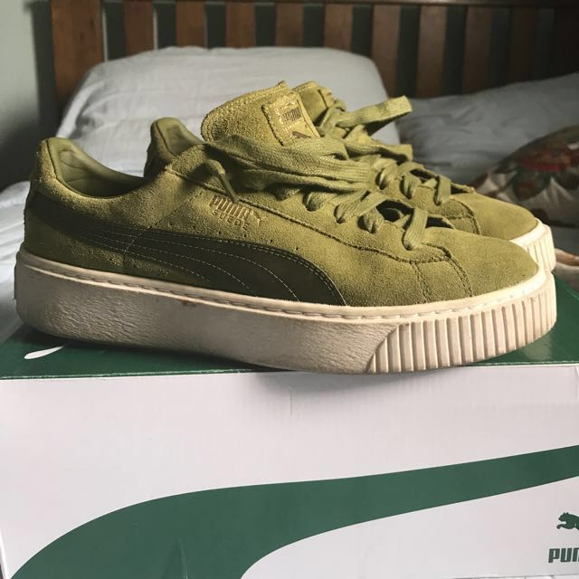new product 36aa1 ce4fe UK 7 Puma Suede Platform Mono Satin in Olive Green