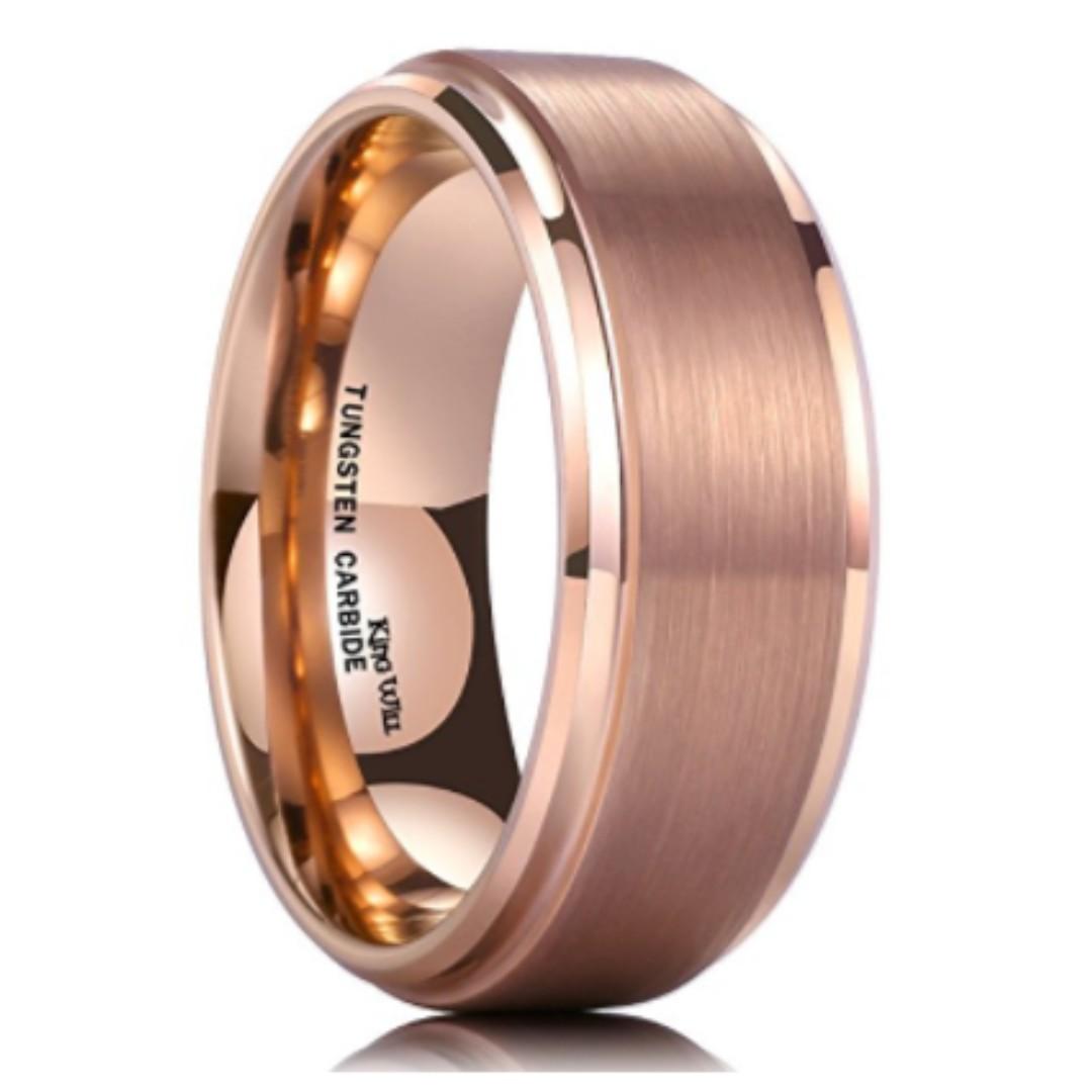 Unique Men S Rings Rose Gold Brushed Beveled Wedding Band 8mm