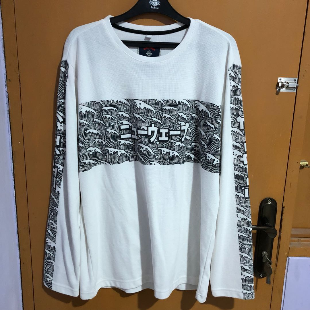 White sweater hypebeast offwhite ombak wave