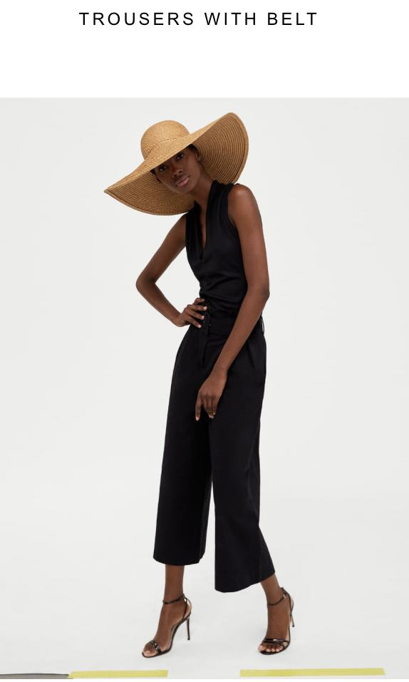 Zara Black Wide Leg Pants with Belt