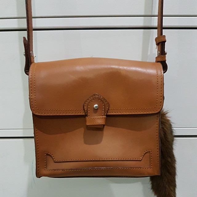 ZARA GENUINE LEATHER CROSSBODY BAG