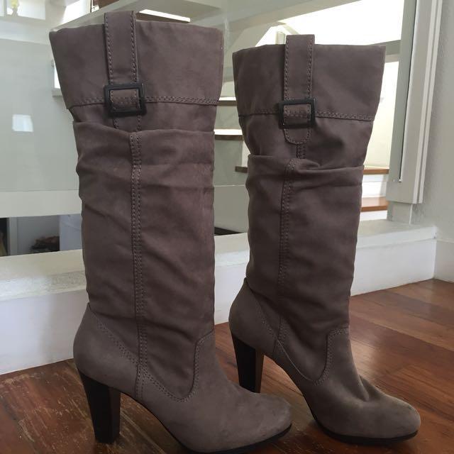 Zara High Heel Leather Boots