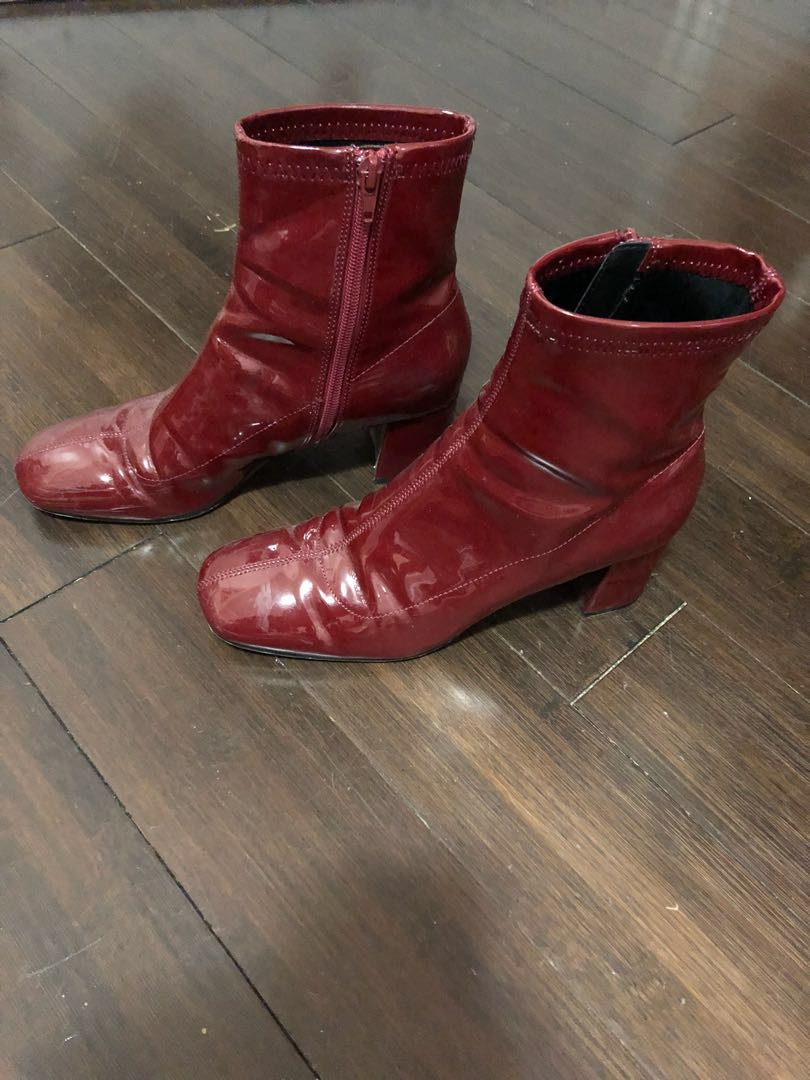Zara Patent Leather Booties Size 7