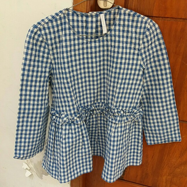 Zara plaid top with frill