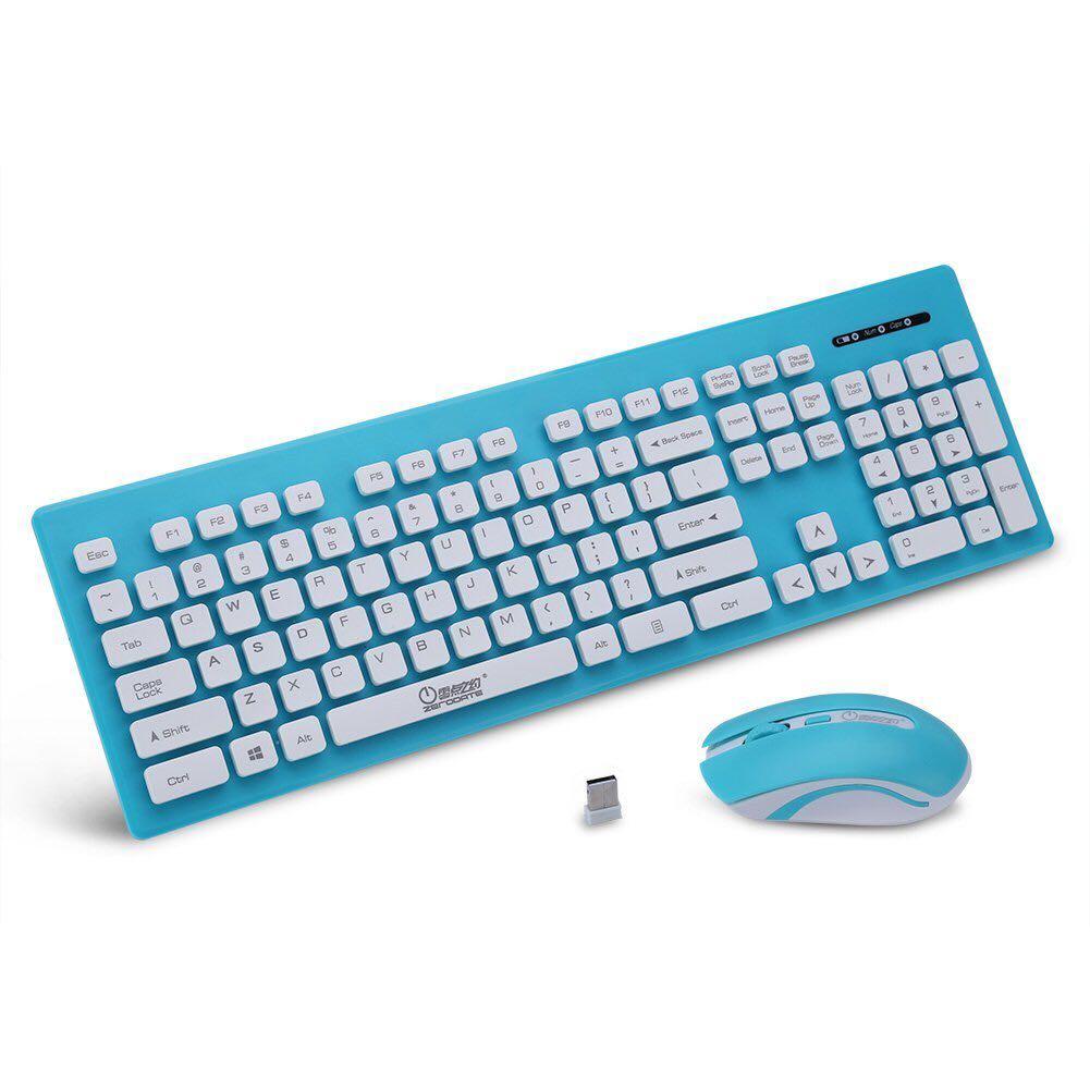 Zerodate X1600 2.4GHz Wireless Keyboard & Mouse - Blue