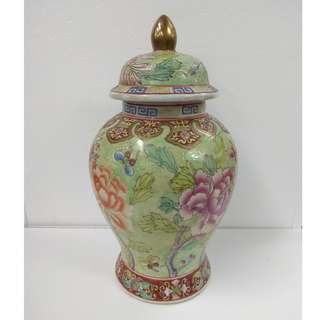 Ornamental Porcelain Hand-painted Jar fish tail shape with underglazed green designs of flowers and butterflies