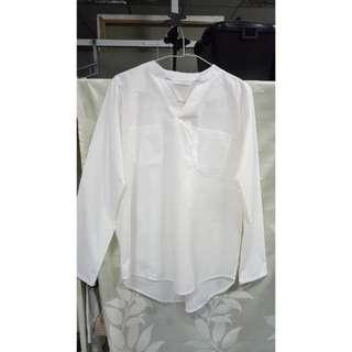 二手 白色口袋襯衫 韓版#換季五折