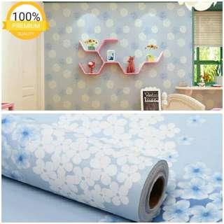 Grosir murah wallpaper sticker dinding indah bunga sakura putih biru