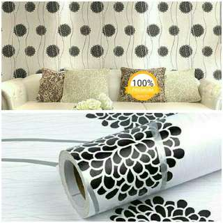 Grosir murah wallpaper sticker dinding indah putih garis silver bunga hitam