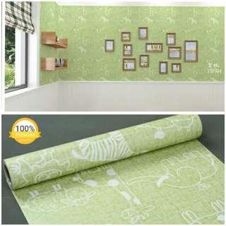 Grosir murah wallpaper sticker dinding indah hijau kartun anak aneka binatang