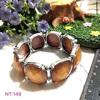 (全新現貨)伸縮鬆緊設計仿寶石復古手環