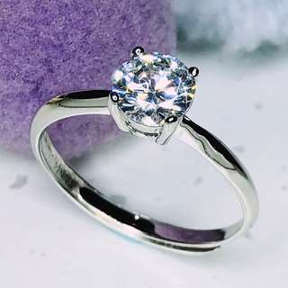 [READY STOCK] Diamond Ring, Engagement ring, Proposal ring, Solitaire ring, Silver, Free Size
