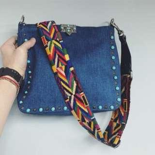 Valentino Valentino denim Rolling hobo bag with embroidered shoulder strap