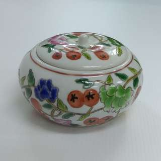 "Ornamental Porcelain Jar with imitation ""Tong Zhi"" period painting of Flowers and fruits Jewellery Box"