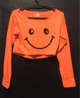 Orange Crop Top Long Sleevs