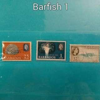 Set of 3 Barbados stamps, fish