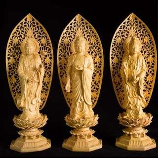 【禮贊精品文物館·西方三聖】黃陽木西方三聖木雕佛具典藏文物意境開運招財擺設居家生活美化環境