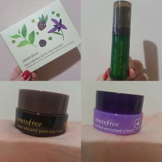 INNISFREE super volcanic pore clay mask, green tea seed serum, orchid enriched cream