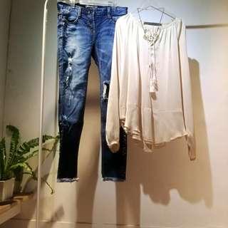 Korea 絲緞法式飄逸上衣